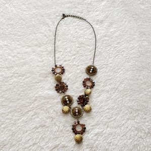 Gold and Brown Statement Necklace